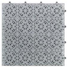 Sure Shot Hockey Practice Floor 9.45' x 6.3' Polypropylene Snap in Tiles in Silver Gray