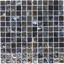 30.5cm x 30.5cm Hammered Glass Mosaic Tile in Black