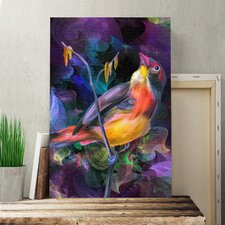 Bird Colourful Abstract Graphic Art on Canvas