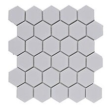 Heagon 30cm x 30cm Porcelain Mosaic Tile in White