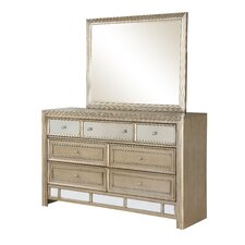 Champagne 7 Drawer Dresser with Mirror by Fairfax Home Collections
