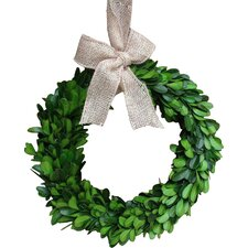 """8"""" Preserved Boxwood Wreath with Burlap Bow"""