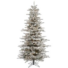 8.5' Flocked Slim Sierra Artificial Christmas Tree 850 LED Clear Dura-Lit Lights