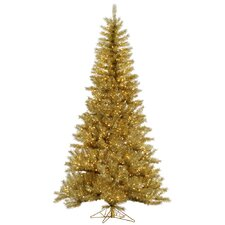 9' Gold/Silver Tinsel Artificial Christmas Tree with 1000 LED Clear Dura-Lit Lights