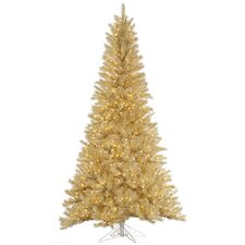 6.5' White/Gold Tinsel Christmas Tree with 450 LED Clear Dura-Lit Lights