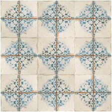 "Artisanal 13"" x 13"" Ceramic Patterned/Field Tile in Azul/Beige"