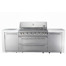 8-Burner Built-In Convertible Gas Grill with Cabinet