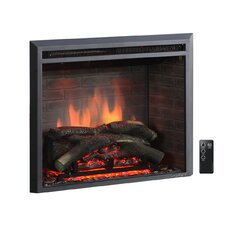 "33"" Black 750/1500W Western Wall Mount Electric Fireplace Insert"