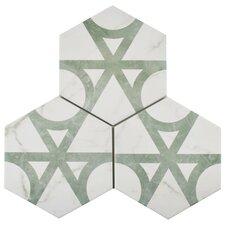 Hexagon Floor Tile navy hex tiles with white grout give a seaside look to the bathroom Karra Carrara 7 X 8 Hexagon Porcelain Field Tile In