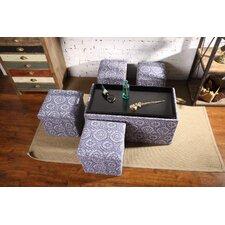 Morgan 5 Piece Storage Bench and 4 Folding Storage Ottoman Set by Winston Porter