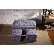 Mahoney 3 Piece Storage Bench and Ottoman Set by Andover Mills