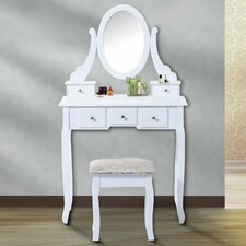 Vintage Dressing Table Set with Mirror