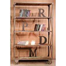 Metal / Wood Linear 77 Bookcase with Wheels by REZ Furniture