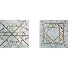 Artic Geometric 2 Piece Graphic Art on Canvas Set