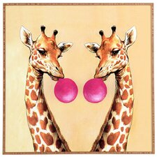 Nadine Giraffes With Bubblegum Framed Art