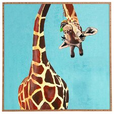 Giraffe With Green Leaf Framed Art by Viv + Rae