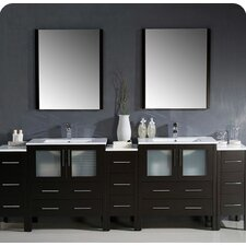 Torino 96 Double Modern Bathroom Vanity Set with Mirror by Fresca