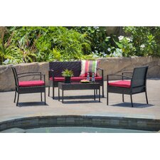 Fayette 4 Piece Wicker Seating Group with Cushion by Charlton Home®