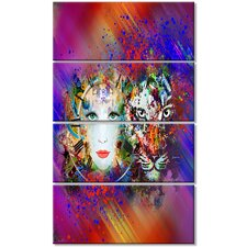 'Colorful Tiger and Woman Face' 4 Piece Graphic Art on Wrapped Canvas Set