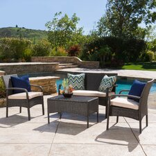 Jeffrey 4 Piece Deep Seating Group with Cushion by Alcott Hill®