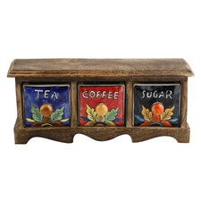 Curios Tea Coffee Sugar 3 Drawer Wood Apothecary Chest by Kindwer