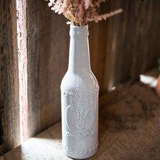 Vintage Inspired Ceramic Bottle Vase with Lavender Motif (Set of 3)