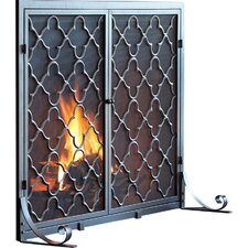 Single Panel Geometric Fireplace Screen