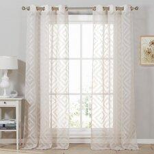 Calleigh Geometric Semi-Sheer Curtain Panels (Set of 2)