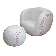 Baseball Sports Kids Novelty Chair and Ottoman