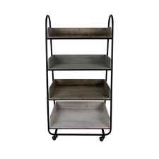 4 Tiered Wooden Storage with Utility Cart