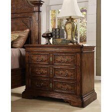 Burgundy 3 Drawer Nightstand by Eastern Legends