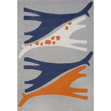 Mr. Giraffe Hand-Tufted Orange/Blue Area Rug
