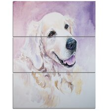 'Funny Golden Retriever' 3 Piece Wall Art on Wrapped Canvas Set
