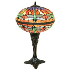 "Zoelle 2-Light Dragonfly Globe Stained Glass 18"" Table Lamp"