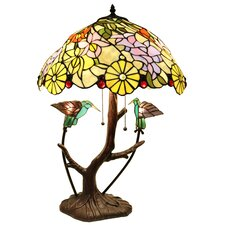 "Shiyee Love Birds 2-Light Stained Glass 26"" Table Lamp"