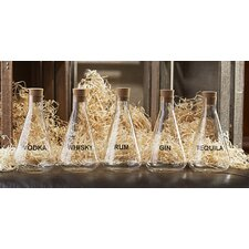 Mixology Liquor Decanter With Cork Stopper And Measuring Grid On Bottle And Wood Crate GB