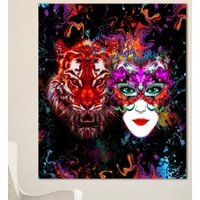 'Tiger and Woman Colorful Faces' Graphic Art on Wrapped Canvas
