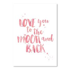 Love You To Moon Back Watercolor Paper Print by Viv + Rae