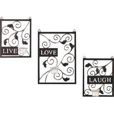 Live Love Laugh 3 Piece Black Wall Décor Set