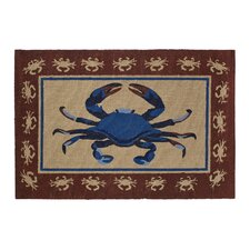 Crab Hand-Woven Red Area Rug