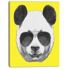 'Funny Panda with Sunglasses' Graphic Art on Wrapped Canvas