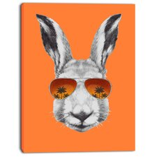 'Funny Rabbit with Sunglasses' Graphic Art on Wrapped Canvas