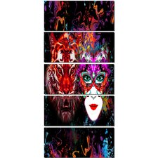 'Tiger and Woman Colorful Faces' 5 Piece Graphic Art on Wrapped Canvas Set