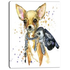 'Brown Toy Terrier Dog Watercolor' Painting Print on Wrapped Canvas