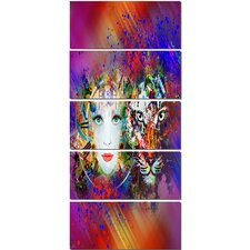 'Colorful Tiger and Woman Face' 5 Piece Graphic Art on Canvas Set