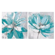 'Flower and Nature' 2 Piece Oil Painting Print Set on Canvas in Blue