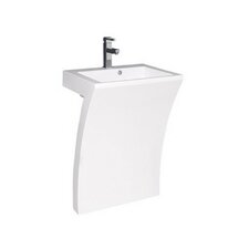 "Sette 24"" Pedestal Bathroom Sink with Overflow"