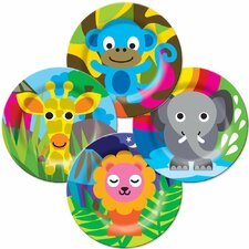 "Jungle 8"" Melamine Kids Round Plates 4 Piece Set (Set of 4)"