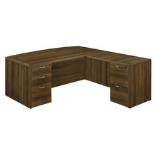 Fairplex 2 Left and 3 Right Drawers L-Shape Executive Desk by Flexsteel Contract