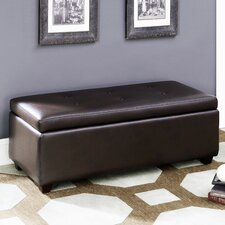Contemporary Button Tufted Storage Leather Ottoman